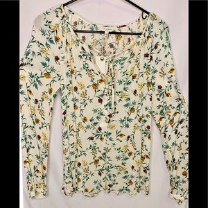 Lucky brand long sleeve flower pattern blouse